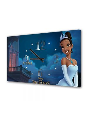 Tablou Canvas cu Ceas Animatie pentru Copii Printesa si Broasca Tiana, 30 x 45 cm