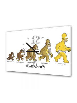Tablou Canvas cu Ceas Animatie pentru Copii The Simpsons Homersapien, 30 x 45 cm