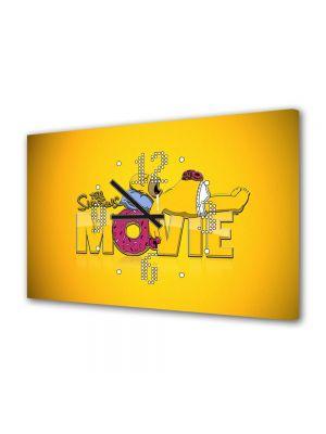 Tablou Canvas cu Ceas Animatie pentru Copii The Simpsons Filmul, 30 x 45 cm