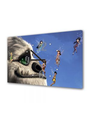 Tablou Canvas cu Ceas Animatie pentru Copii Tinkerbell Movie, 30 x 45 cm