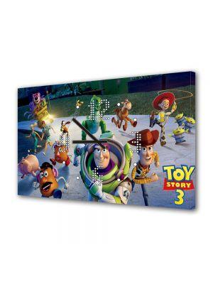 Tablou Canvas cu Ceas Animatie pentru Copii Toy Story 3 Marea Evadare, 30 x 45 cm