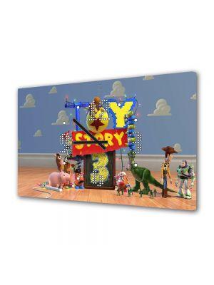 Tablou Canvas cu Ceas Animatie pentru Copii Toy Story 4, 30 x 45 cm