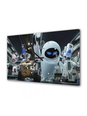 Tablou Canvas cu Ceas Animatie pentru Copii WallE si Eve, 30 x 45 cm