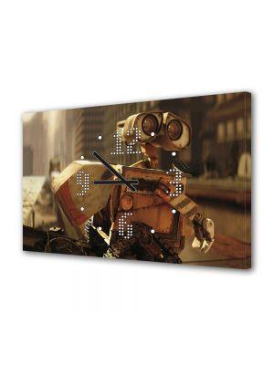 Tablou Canvas cu Ceas Animatie pentru Copii Wall E In oras, 30 x 45 cm