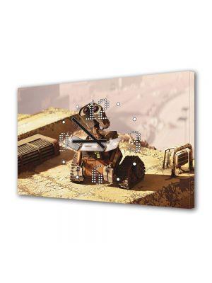 Tablou Canvas cu Ceas Animatie pentru Copii Wall E Uitandu-se in sus, 30 x 45 cm