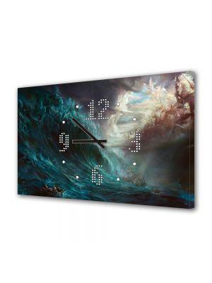 Tablou Canvas cu Ceas Animatie pentru Copii Fantasy Battle, 30 x 45 cm