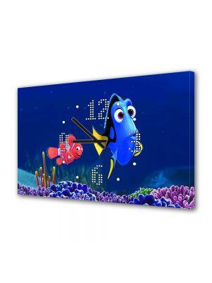 Tablou Canvas cu Ceas Animatie pentru Copii Finding Dory, 30 x 45 cm