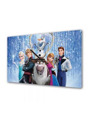 Tablou Canvas cu Ceas Animatie pentru Copii Frozen Film Disney, 30 x 45 cm