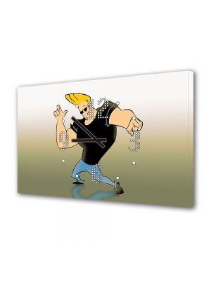Tablou Canvas cu Ceas Animatie pentru Copii Johnny Bravo, 30 x 45 cm