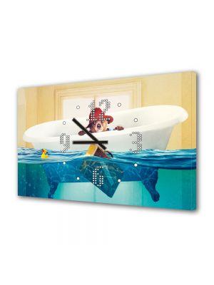 Tablou Canvas cu Ceas Animatie pentru Copii Paddington Bear, 30 x 45 cm