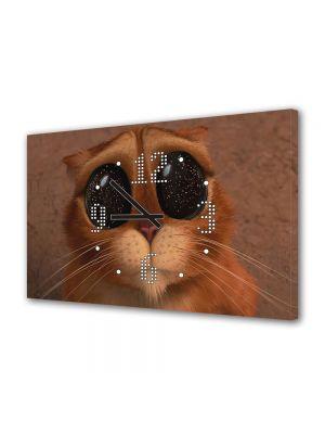 Tablou Canvas cu Ceas Animatie pentru Copii Puss in Boots The Three Diablos, 30 x 45 cm