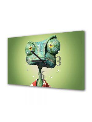 Tablou Canvas cu Ceas Animatie pentru Copii Rango 2011, 30 x 45 cm
