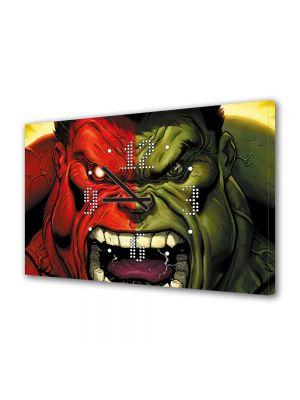 Tablou Canvas cu Ceas Animatie pentru Copii Red Hulk vs Green Hulk, 30 x 45 cm