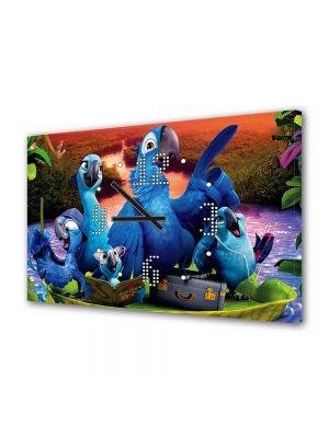 Tablou Canvas cu Ceas Animatie pentru Copii Rio 2, 30 x 45 cm