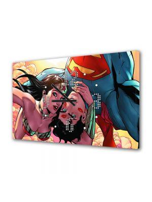 Tablou Canvas cu Ceas Animatie pentru Copii Superman si Wonder Woman Selfie, 30 x 45 cm