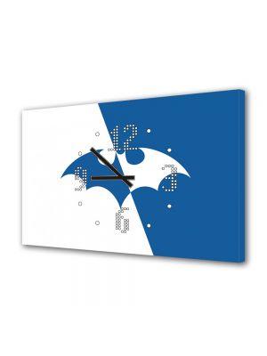 Tablou Canvas cu Ceas Animatie pentru Copii Batman Logo, 30 x 45 cm