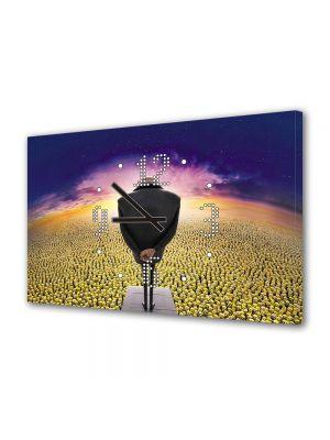 Tablou Canvas cu Ceas Animatie pentru Copii Minionii, 30 x 45 cm