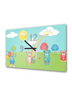 Tablou Canvas cu Ceas Animatie pentru Copii Fitzroy Rabbits, 30 x 45 cm