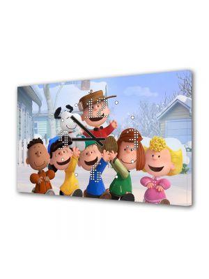 Tablou Canvas cu Ceas Animatie pentru Copii The Peanuts Gasca Vesela, 30 x 45 cm