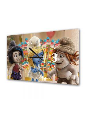 Tablou Canvas cu Ceas Animatie pentru Copii The Smurf 3, 30 x 45 cm