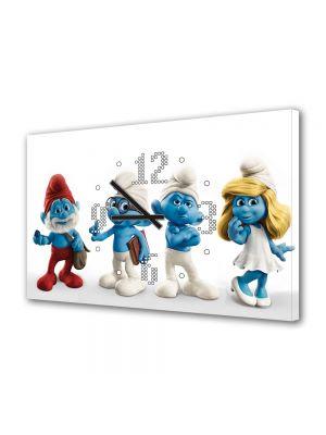 Tablou Canvas cu Ceas Animatie pentru Copii Strumfii de jucarie, 30 x 45 cm