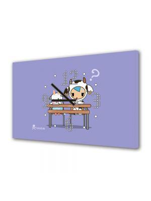 Tablou Canvas cu Ceas Animatie pentru Copii Tokidoki, 30 x 45 cm