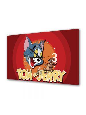 Tablou Canvas cu Ceas Animatie pentru Copii Tom and Jerry, 30 x 45 cm