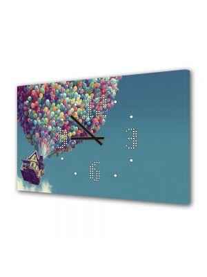 Tablou Canvas cu Ceas Animatie pentru Copii Up Casa Zburatoare, 30 x 45 cm