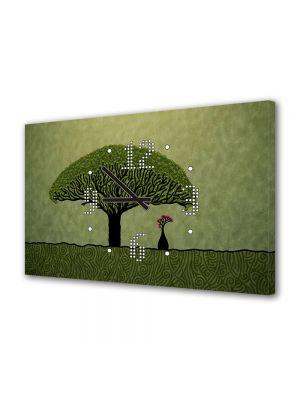 Tablou Canvas cu Ceas Animatie pentru Copii Cugetand sub copac, 30 x 45 cm
