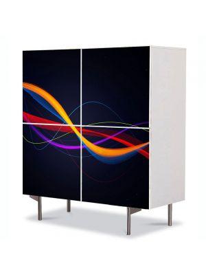 Comoda cu 4 Usi Art Work Abstract Valuri pe fundal negru, 84 x 84 cm