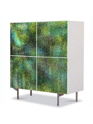 Comoda cu 4 Usi Art Work Abstract Textura sticla verde, 84 x 84 cm