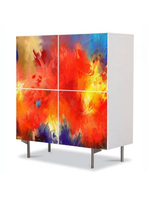 Comoda cu 4 Usi Art Work Abstract Artistic colorat, 84 x 84 cm