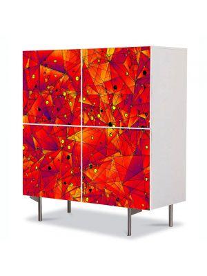 Comoda cu 4 Usi Art Work Abstract Geometrie rosu, 84 x 84 cm