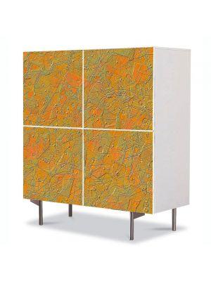 Comoda cu 4 Usi Art Work Abstract Gravura, 84 x 84 cm