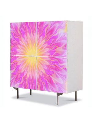 Comoda cu 4 Usi Art Work Abstract Floare roz, 84 x 84 cm