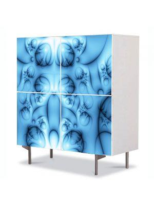 Comoda cu 4 Usi Art Work Abstract Forme albastre, 84 x 84 cm