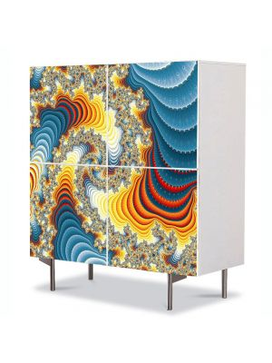 Comoda cu 4 Usi Art Work Abstract Vis colorat, 84 x 84 cm