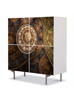 Comoda cu 4 Usi Art Work Abstract Textura eleganta, 84 x 84 cm
