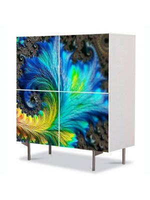Comoda cu 4 Usi Art Work Abstract Frunza albastra, 84 x 84 cm