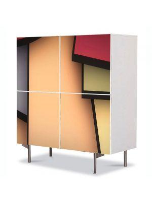 Comoda cu 4 Usi Art Work Abstract Dreptunghi, 84 x 84 cm