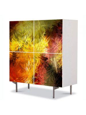 Comoda cu 4 Usi Art Work Abstract Abstract culori calde, 84 x 84 cm