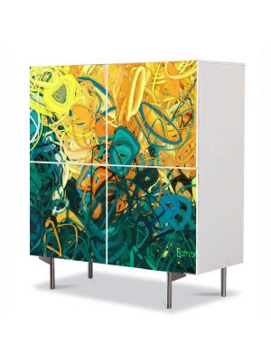 Comoda cu 4 Usi Art Work Abstract Gradina, 84 x 84 cm