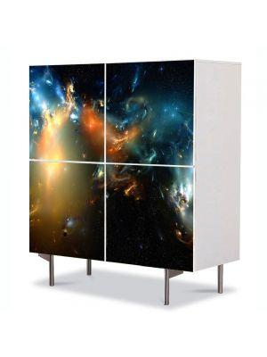 Comoda cu 4 Usi Art Work Abstract Univers, 84 x 84 cm