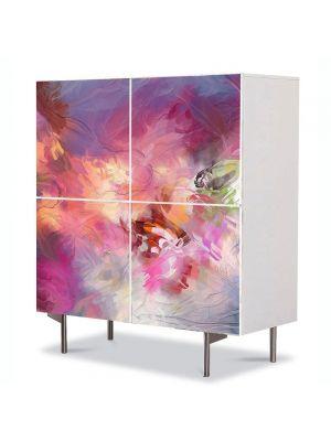 Comoda cu 4 Usi Art Work Abstract Nori roz, 84 x 84 cm