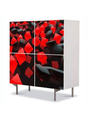 Comoda cu 4 Usi Art Work Abstract Cuburi rosii si negre, 84 x 84 cm