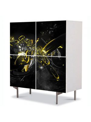 Comoda cu 4 Usi Art Work Abstract Modern negru, 84 x 84 cm