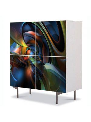 Comoda cu 4 Usi Art Work Abstract Amestec de reflexii, 84 x 84 cm