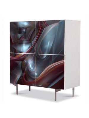 Comoda cu 4 Usi Art Work Abstract  Rosu inchis, 84 x 84 cm
