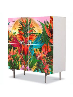Comoda cu 4 Usi Art Work Abstract Jungla, 84 x 84 cm