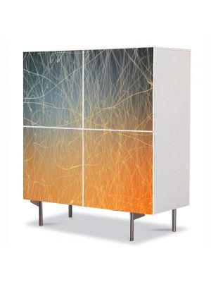 Comoda cu 4 Usi Art Work Abstract Linii aurii, 84 x 84 cm